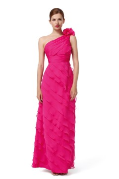 A Line One Shoulder Floor Length Chiffon Fuchsia Bridesmaid Dress F12079