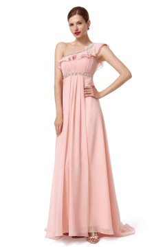 A Line One Shoulder Sweep Brush Train Chiffon Pink Bridesmaid Dress F12003