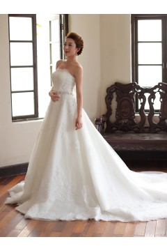 A Line Strapless Chapel Train Lace Wedding Dress Alb12302