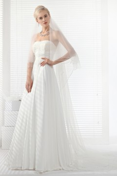 A Line Strapless Court Train Chiffon Wedding Dress Alb12321