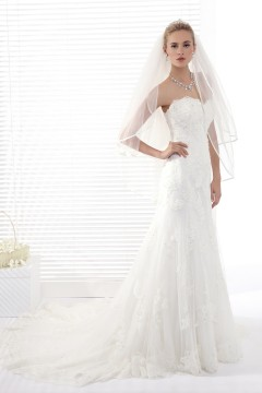 A Line Sweetheart Chapel Train Lace Wedding Dress Alb12284
