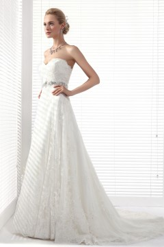 A Line Sweetheart Chapel Train Lace Wedding Dress Alb12299
