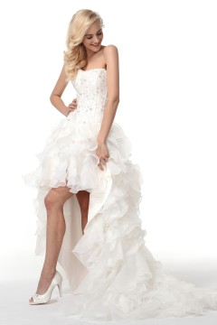 A Line Sweetheart Court Train Organza Wedding Dress Alb12303