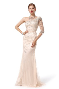 Sheath Column One Shoulder Sweep Brush Train Tulle Champagne Evening Dress F12089