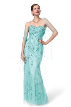 Sheath Column Sweetheart Floor Length Tulle Hunter Green Evening Dress F12092