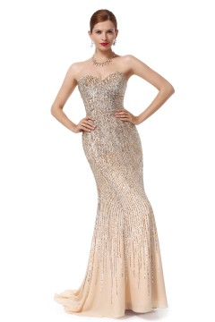 Sheath Column Sweetheart Sweep Brush Train Chiffon Champagne Evening Dress F12088-1