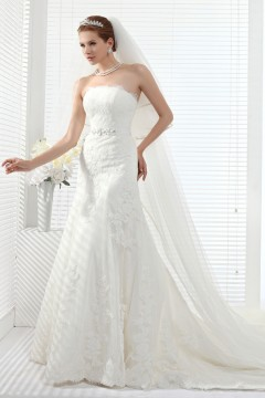 Trumpet Mermaid Strapless Chapel Train Lace Wedding Dress Alb12258