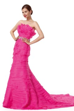 Trumpet Mermaid Strapless Court Train Organza Fuchsia Evening Dress F12090