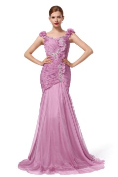 Trumpet Mermaid Straps Sweep Brush Train Chiffon Lilac Evening Dress F12093