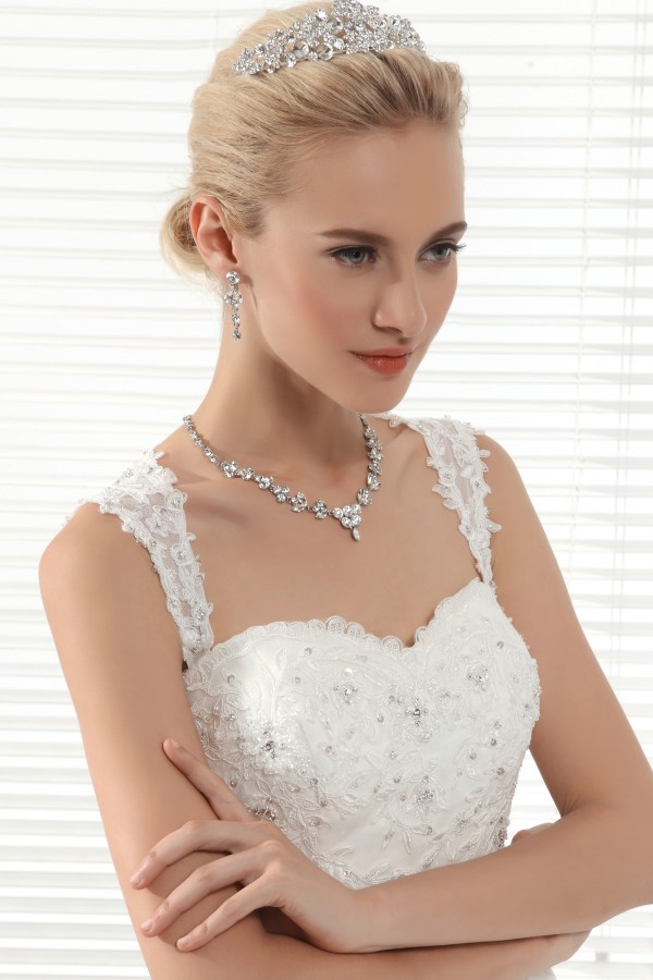 Beautiful Rhinestones Wedding Necklace And Earrings Jewelry Set Ajtb0263