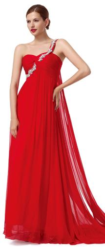 A Line One Shoulder Court Train Chiffon Red Bridesmaid Dress F12008