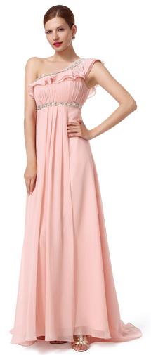 A Line One Shoulder Sweep Brush Train Chiffon Pink Bridesmaid Dress F12003