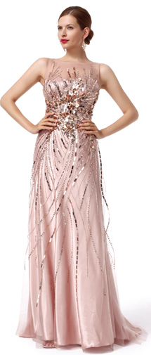 A Line Tank Top Sweep Brush Train Tulle Pink Evening Dress F12087