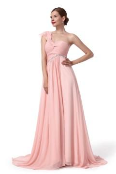 A Line One Shoulder Sweep Brush Train Chiffon Pink Bridesmaid Dress F12005