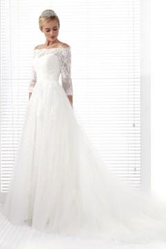 A Line Spaghetti Strap Chapel Train Lace Wedding Dress Alb12282