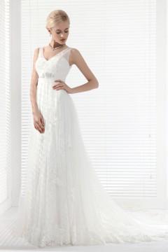A Line V Neck Chapel Train Lace Wedding Dress Alb12292