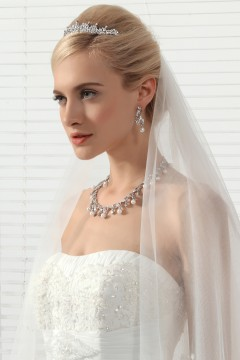 Elegant Pearl Wedding Necklace And Earrings Jewelry Set Ajtb0258