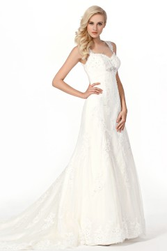 Trumpet Mermaid Spaghetti Strap Court Train Lace Wedding Dress Alb12288
