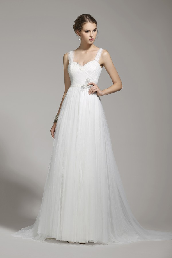 Sheath Straps Tulle Ivory Sleeveless Wedding Dress with Sashes and Draped AWXT15001
