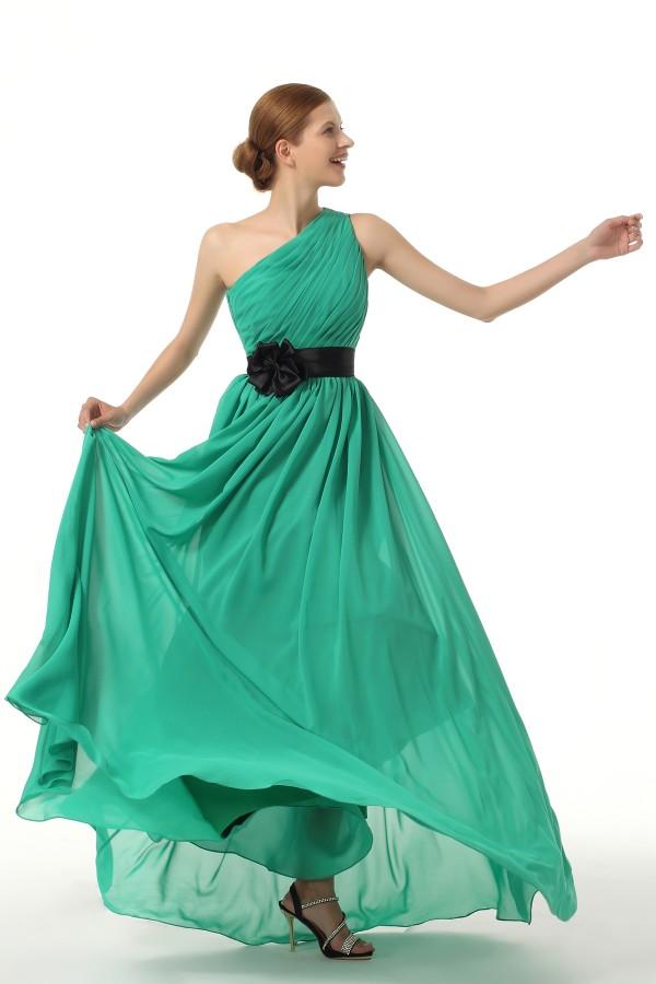 A Line One Shoulder Floor Length Chiffon Green Bridesmaid Dress F12083