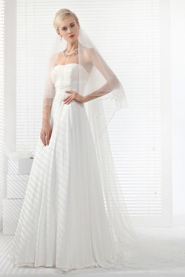 A Line Strapless Court Train Chiffon Wedding Dress Alb12321