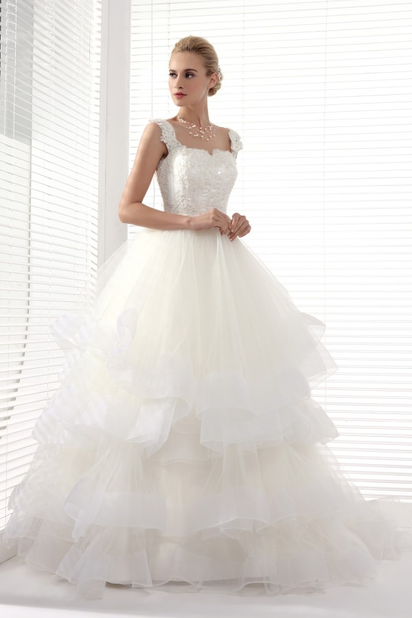 Ball Gown Straps Court Train Lace Wedding Dress Alb12228