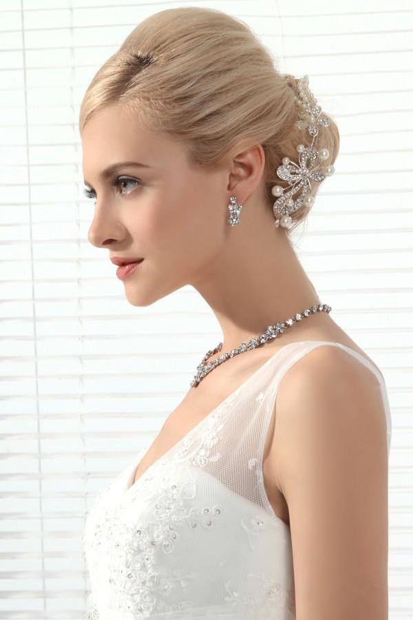 Graceful Rhinestones With Pearl Wedding Headpiece Ajtb0304