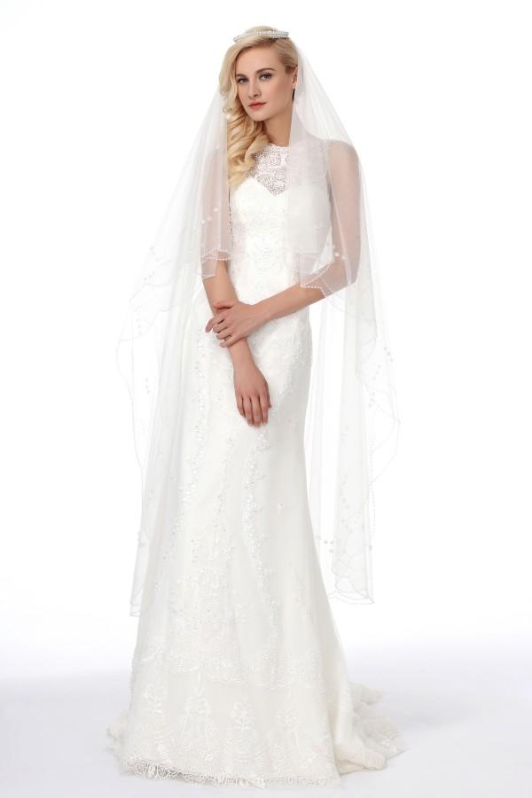 Ivory Chapel Train 1 Layer Bridal Veil Ac1280