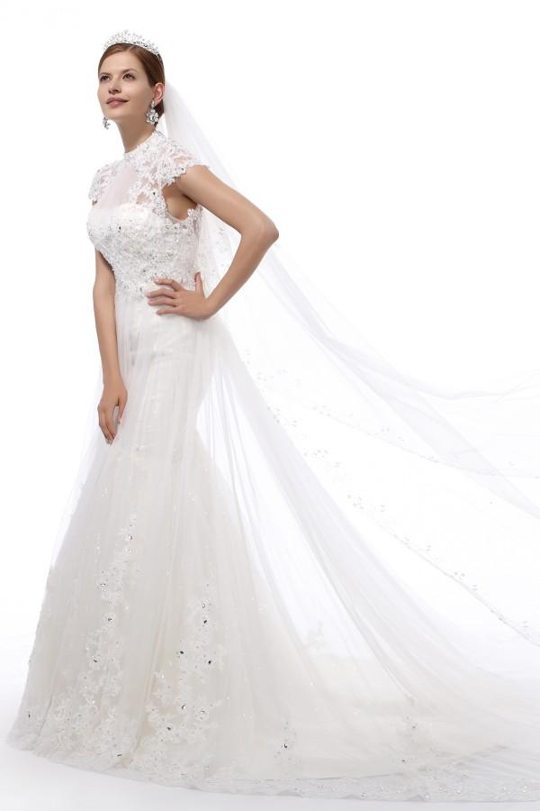 Trumpet Mermaid Tank Top Chapel Train Lace Wedding Dress Alb12256