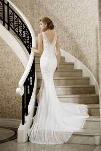 Trumpet Mermaid V-neck Lace Ivory Sleeveless Wedding Dress with Beading and Appliques AWZT15004