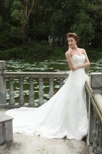 A Line Sweetheart Chapel Train Lace Wedding Dress Alb12285