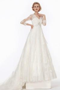 A Line V Neck Chapel Train Lace Wedding Dress Alb12077
