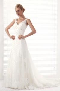 A Line V Neck Chapel Train Lace Wedding Dress Alb12290
