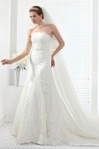 Trumpet Mermaid Strapless Chapel Train Lace Wedding Dress Alb12258