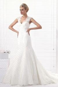 Trumpet Mermaid Straps Chapel Train Lace Wedding Dress Alb12293