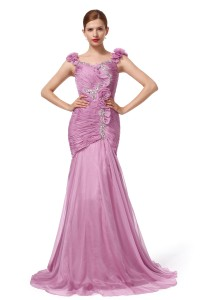 Trumpet Mermaid Straps Sweep Brush Train Chiffon Lilac Evening Dress F12093