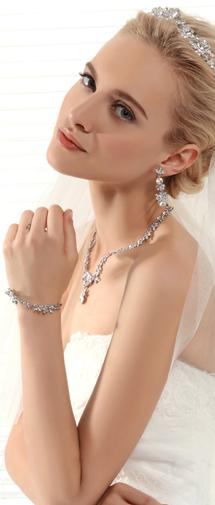 Graceful Rhinestones Wedding Necklace And Earrings Jewelry Set Ajtb0265