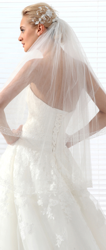 Ivory Waist Length 2 Layer Bridal Veil Ac1281