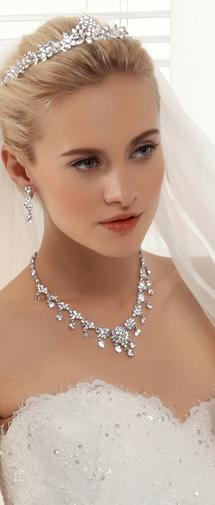 Royal Rhinestones Wedding Necklace And Earrings Jewelry Set Ajtb0264